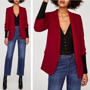 Zara Woman   Red Blazer Jacket Size Medium